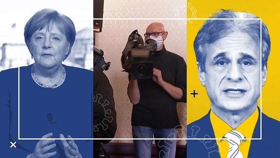 Collage von Bildern mit Angela Merkel, Alexander S. Kekulé und einem Kamerateam