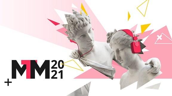 Büsten mit Kopfhörern und Logo der Medientage Mitteldeutschland 2021.