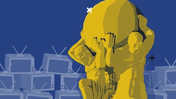 Stilisierte Grafik: Zwei männliche Statuen tragen große Kugel auf den Schultern. Im Hintergrund sind Fernsehgeräte zu sehen.