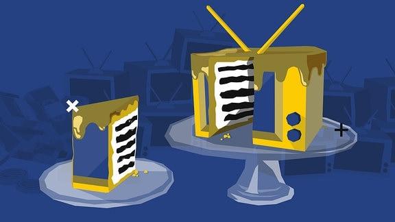 Stilisierte Grafik: Darstellung eines Fernsehers als Kuchen. Ein Kuchenstück ist herausgeschnitten.