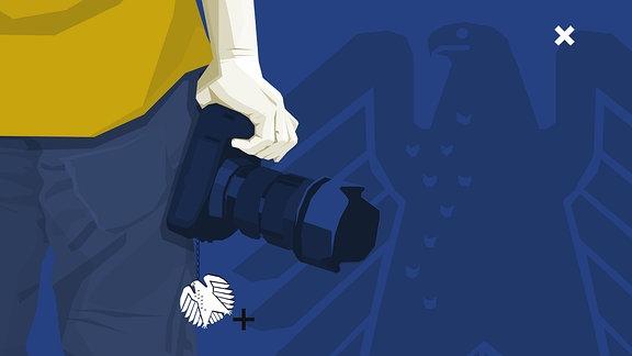 Stilisierte Grafik: Person hält Fotoapparat in der hand. Daran hängt das Symbol des Bundesadlers, das Bundeswappen Deutschlands.