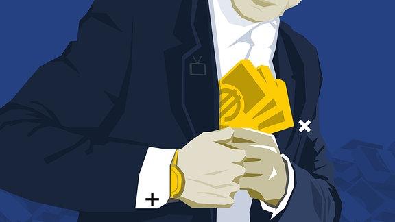 Stilisierte Grafik: Person steckt Geldscheine in Jackeninnentasche. Am Handgelenk ist Uhr erkennbar.