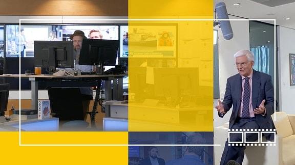 Stilisierte Grafik: Bilder vom Dreh in einer Redaktion und mit ZDF-Intendant Thomas Bellut.