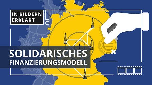 Stilisierte Deutschlandkarte mit Funkmasten. Außerdem eine Hand mit Geldstück.