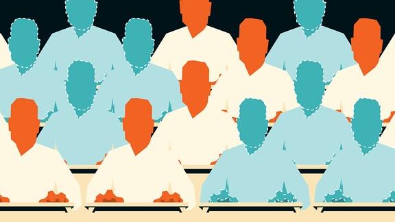 Stilisierte blaue und orangefarbene Menschen beim Tippen auf Computertastaturen