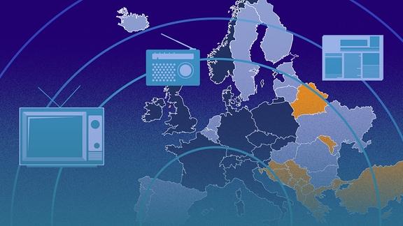 Eine Europa-Karte auf der europäische Länder in drei Farben eingefärbt sind. Die Karte befindet sich unter Sonar-Kreisen, auf denen Zeitungs-, Fernseh- und Radio-Symbole platziert sind.