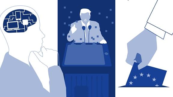 Ein stilisierter Mensch, der nachdenkt. Sein Gehirn wurde durch digitale Schaltungen dargestellt. Daneben: Stilisierter Donald Trump und eine Hand mit Europa-Wahlzettel.