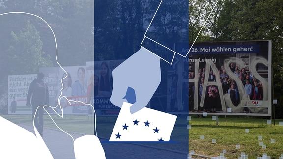 """Ein stilisierter Mensch, der nachdenkt. Daneben eine Hand mit Europa-Wahlzettel. Im Hintergrund ist ein Foto mit vielen Wahlplakaten zur Europawahl 2019 zu sehen. Auf dem Plakate der CDU wurde das Wort """"Hass"""" aufgesprüht."""