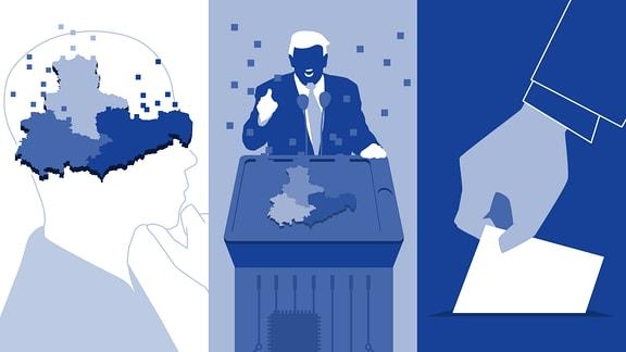 Eine Karte Mitteldeutschlands, die sich im Kopf eines stilisierten Menschen nach oben hin auflöst. Daneben: Stilisierter Donald Trump und eine Hand mit Wahlzettel.