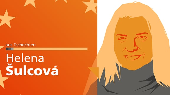 """Ein abstrahiertes Portrait von Helena Šulcová, dazu der Schriftzug """"aus Tschechien"""" auf der linken Seite."""
