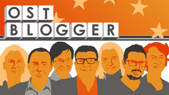 Eine Grafik, auf der die sieben Ostblogger abstrakt dargestellt sind, oberhalb steht in Lettern: Ostblogger. Im Hintergrund die Europa-Flagge.