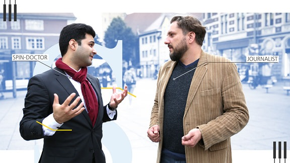 Dr. Reza Kazemi, Politik- und Kampagnenberater, wendet sich dem Journalisten Markus Hoffmann zu.