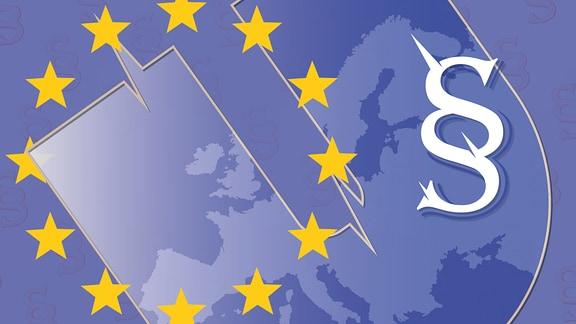 Blau überblendete Europakarte mit dem Paragraphenzeichen sowie Sternenkreis.