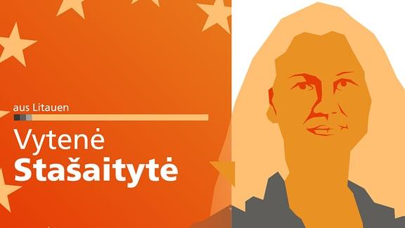"""Ein abstrahiertes Portrait von Vytenė Stašaitytė, dazu der Schriftzug """"aus Litauen"""" auf der linken Seite."""