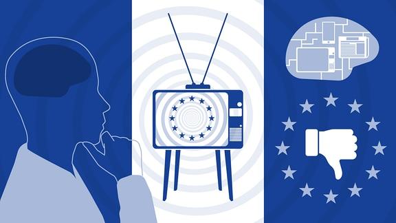 Ein stilisierter Mensch sieht auf einem Fernseher die Berichterstattung zu Europa. Ein Daumen nach unten und ein Gehirn mit Schaltkreisen symbolisieren das negative Image.