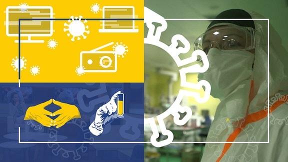 Collage: Eine Person in Laborkleidung, Coronavirus-Symbol, Symbole für Fernseher, Radio und Internet. Desweiteren ist eine Raute - gezeigt mit zwei Händen - zu sehen. Eine dritte Hand hält ein Reagenzglas.