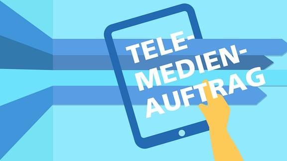 Teserbild zu Neuerungen des Telemdeienauftrages. Zu sehen ist ein Tablet, auf dem Telemedienauftrag steht.
