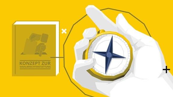 """Grafik: Buch """"Konzept zur Wahlberichterstattung"""" sowie eine Hand mit einem Kompass."""