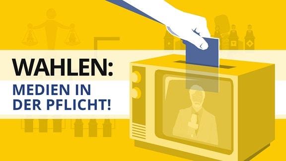 Grafik: Röhrenfernseher ist eine Wahlurne. Eine Hand mit einem Zettel steckt diesen in die Wahlurne. Im Hintergrund stilisierte Personen hinter Stehpulten, davor sind Mikrofone abgebildet.