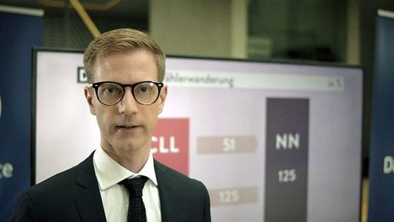 Ein Mann mit Brille steht vor einem Bildschirm mit einer Wahlstatistik.