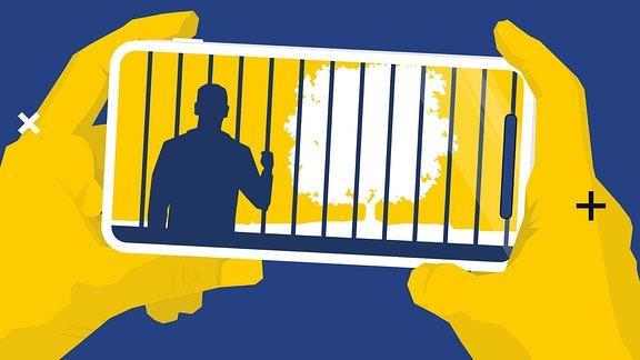Hände mit Smartphone in der Hand. Im Smartphone ist eine stilisierte Person hinter Gittern mit Blick auf einen Baum zu sehen.