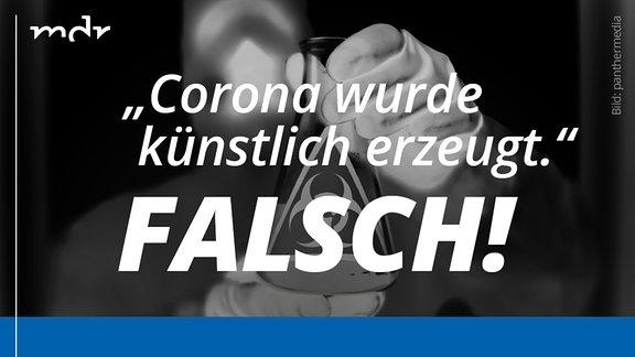 """Invertiertes Fotos mit Hand in einem Handschuh, die ein Laborfläschchen hält. Darauf Fake-News zum Thema """"Corona kommt aus Labor"""". In der unteren Bildhälfte Richtigstellung der Fake-News."""
