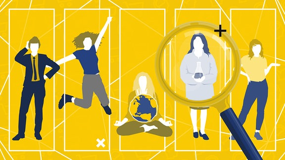 Teasergrafik: Fünf stilisierte Influencer Typen durch eine Lupe betrachtet.