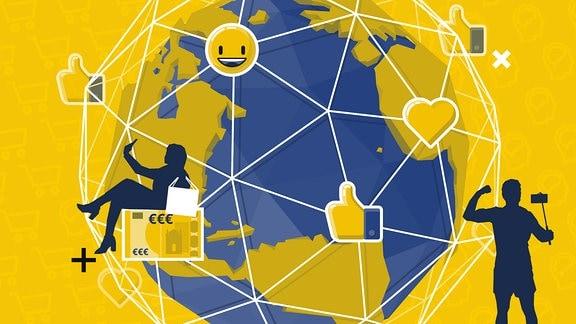 Ein stilisierter Globus. Menschen, Gegenstände und Emojis verteilen sich auf einem Gitternetz über dem Erdball.