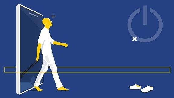Stilisierter Mensch mit Rollkoffer schreitet durch ein Smartphone. Vor ihm stehen Schuhe. Außerdem ist das Zeichen für On/Off sichtbar.