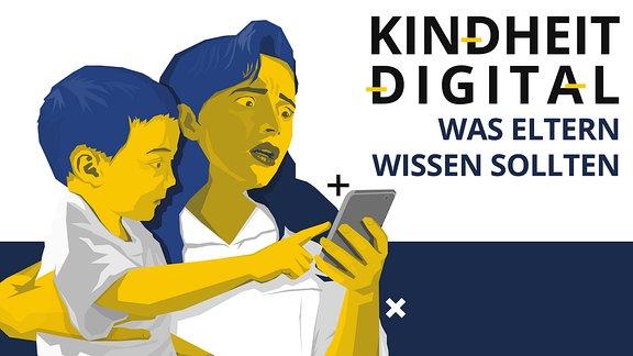 Frau hat Kind auf dem Arm und hält ein Smartphone in der Hand. Sie schaut bestürzt auf das Handy.