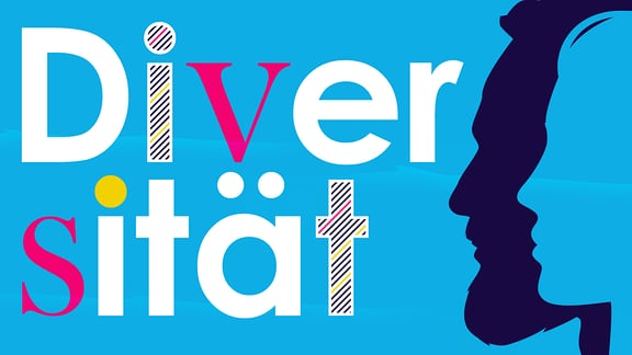 """Teaserbild Diversität: ein Frauen- und ein Männerkopf unter dem Schriftzug """"Diversität"""" in verschieden gestalteten Buchstaben"""