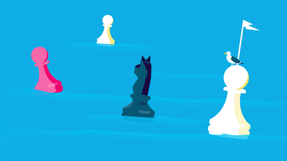 Teaserbild Strategien für mehr Diversität: Schachfiguren treiben als Boien im Wasser