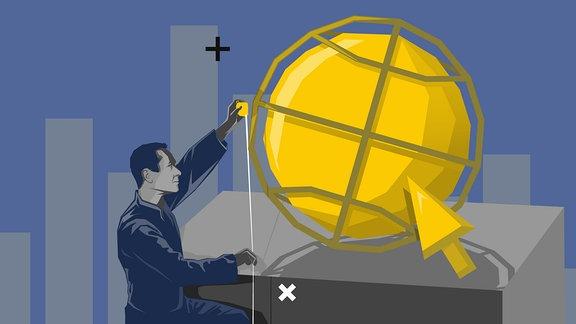 Ein Mann vermisst eine Kugel, welches das Internet-Symbol darstellt, mit einem Maßband.