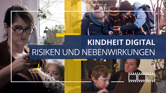 Collage: Erwachse und Kinder mit Smartphone und Tablet.