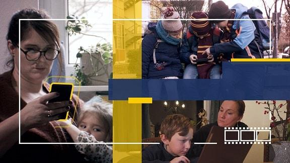 Collage: Erwachsene und Kinder mit Smartphone und Tablet.