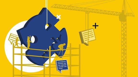 Bauarbeiter auf Gerüst bauen aus Kommentaren das Sputnik-Logo.