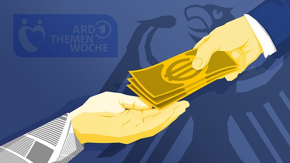 Stilisierte Grafik: Hand im Zeitungsärmel erhält Geldscheine von Hand im Anzugsärmel. Im Hintergrund ist das Logo der ARD Themenwoche zu sehen.