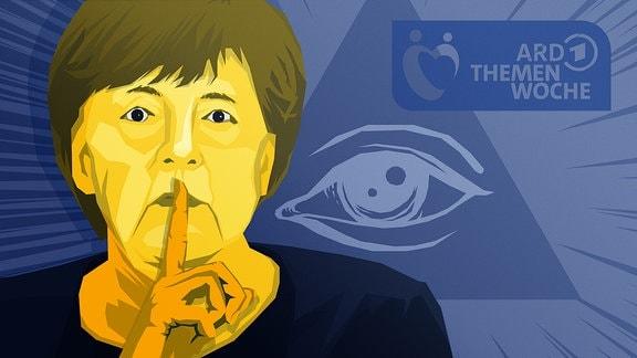 """Stilisierte Person, die Bundeskanzlerin Angela Merkel darstellen soll, hält Zeigefinger vor den Mund. Im Hintergrund ist """"Das Auge der Vorsehung"""" sowie das Logo der ARD Themenwoche zu sehen."""