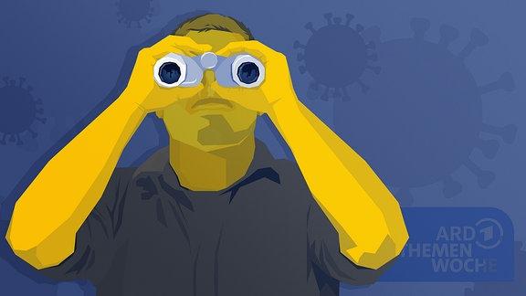 Stilisierte Person schaut durch ein Fernglas. Im Hintergrund ist das Logo der ARD Themenwoche sichtbar.
