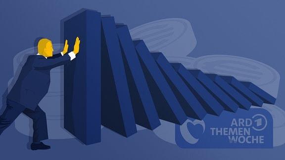Stilisierte Person stemmt sich gegen fallende Dominosteine, Geldstücke liegen im Hintergrund übereinander. Das Logo der ARD Themenwoche ist zu sehen.