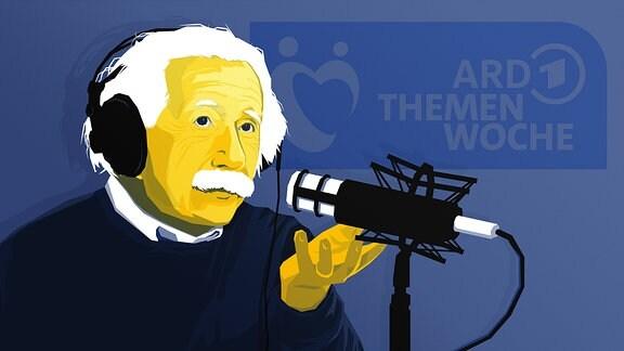 Stilisierte Person, die Albert Einstein ähnelt, sitzt vor einem Mikrofon. Im Hintergrund ist das Logo der ARD Themenwoche zu sehen.