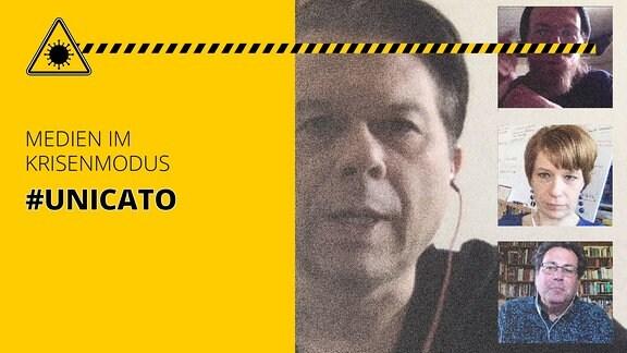 Markus Kavka und Interviewgäste via Skype sichtbar. Außerdem der Schriftzug: Medien im Krisenmodus #unicato