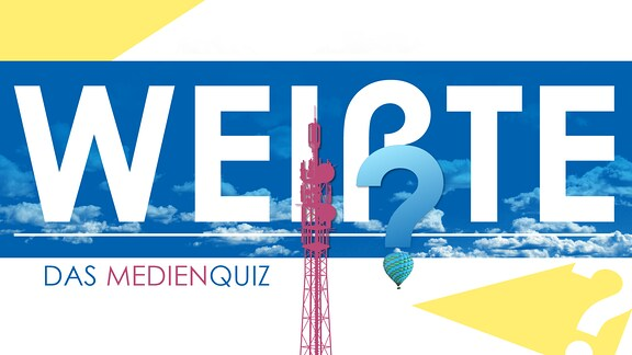 """Teasergrafik zum Medienquiz: Schriftzug """"Weißte - das Medienquiz"""" auf blauem Hintergrund mit einer Funkturm-Grafik"""