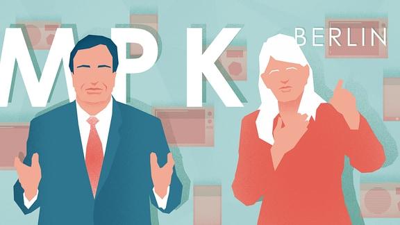 """Schriftzug MPK Berlin mit stilisierten Figungen """"Mann"""" und """"Frau"""""""