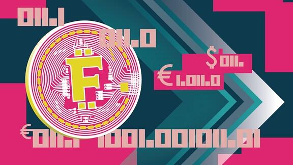 Abstrakte Münze mit dem Buchstaben F.