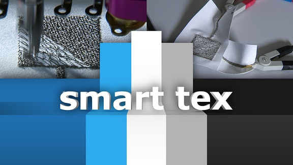 Foto von eingenähter Sensorik sowie Schriftzug smart tex