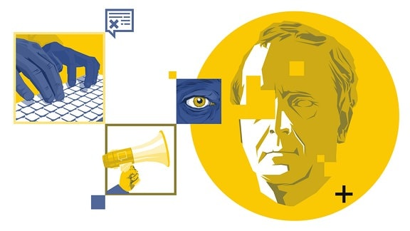 Collage: Hände auf Tastatur, Porträt, Auge, Kommentarblase, Hand mit Megafon.