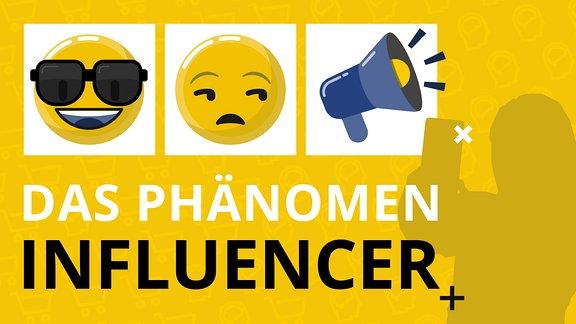 Emojis nebeneinander angeordnet. Darunter der Titel des Themen-Dossiers: Das Phänomen Influencer.