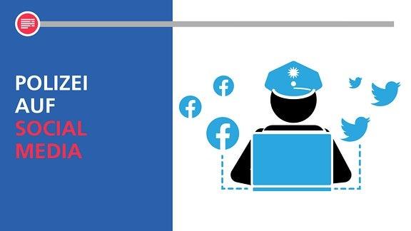 Ein Polizist sitzt vor einem Laptop und macht Social Media Arbeit. Man sieht die Logos von Twitter und Facebook um ihn herum.