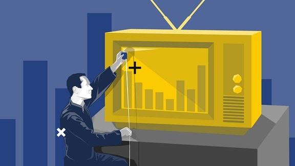 Ein Mann vermisst einen Fernseher mit einem Maßband.